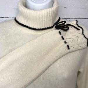 Ann Taylor LOFT Turtleneck Sweater (Cream & Black)